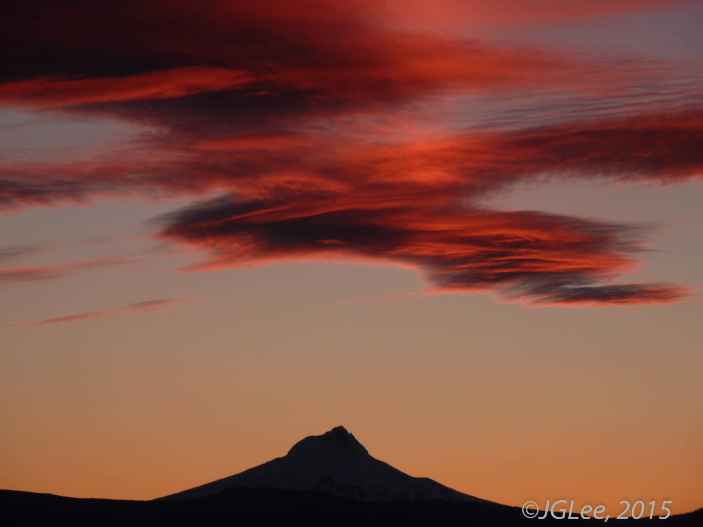 Bruning Sky, Silhouette of Mt. Hood
